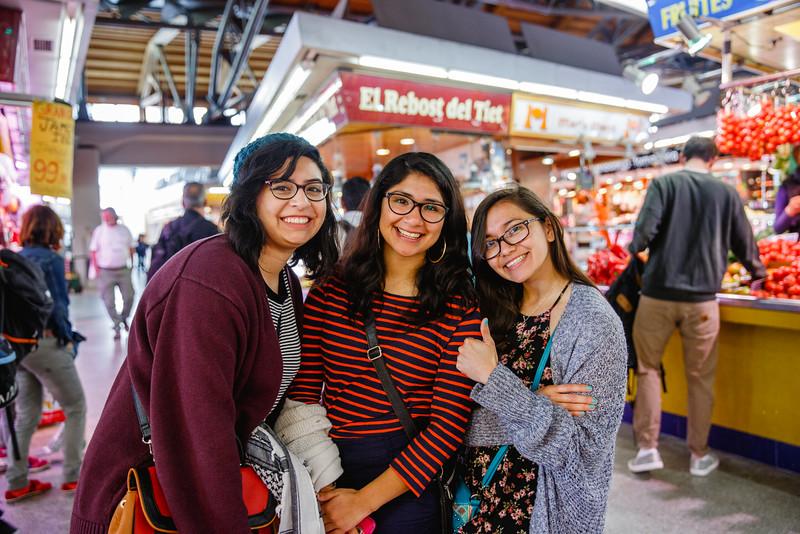Kristal Sotomayor, Selena Martinez, and Stephanie Montalvan in Mercat de Santa Caterina.