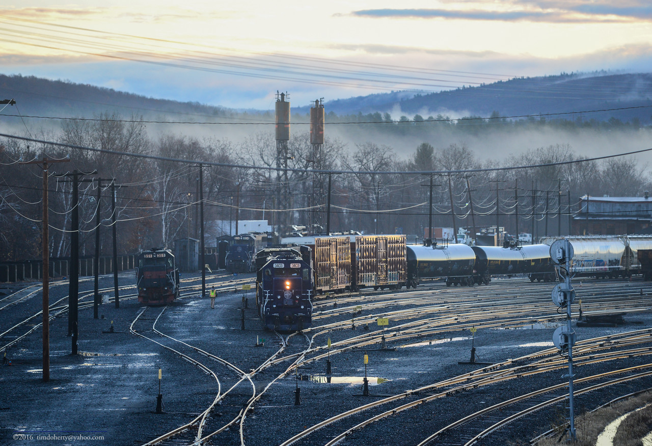 Sunrise at East Deerfield often produces a train. What is likely 11R heads out of the yard on December 1, 2016.