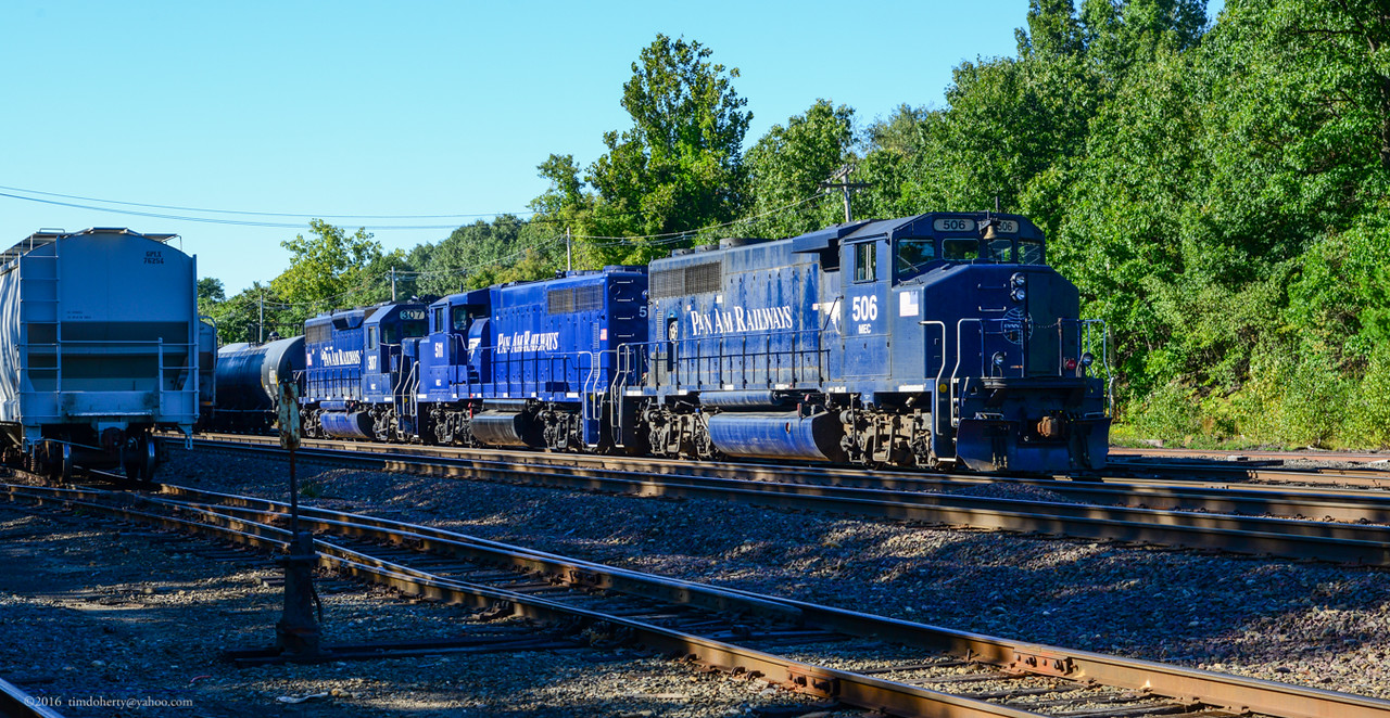 Three Pan Am units wait for a recrew at eastend of Fitchburg yard.