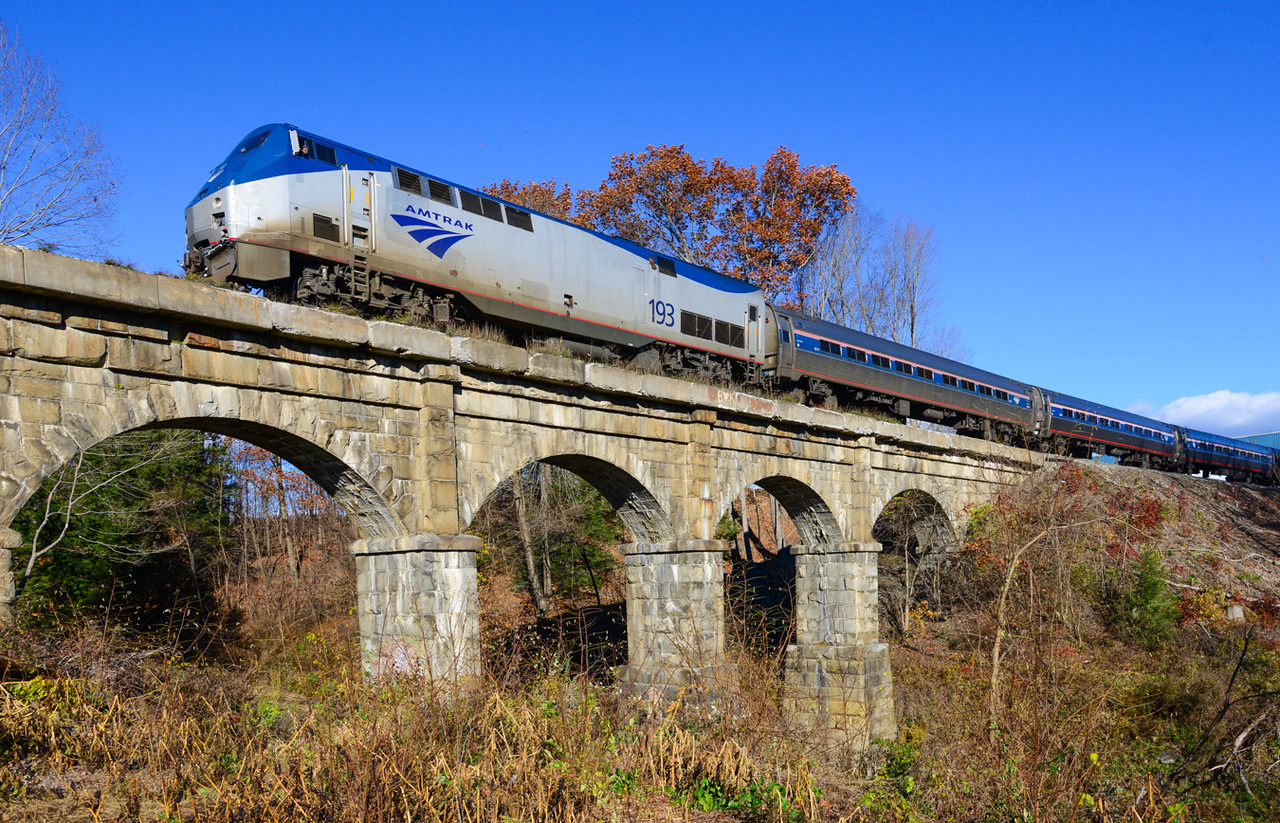 The southbound Vermonter on the Fall River Bridge in Bernardson.