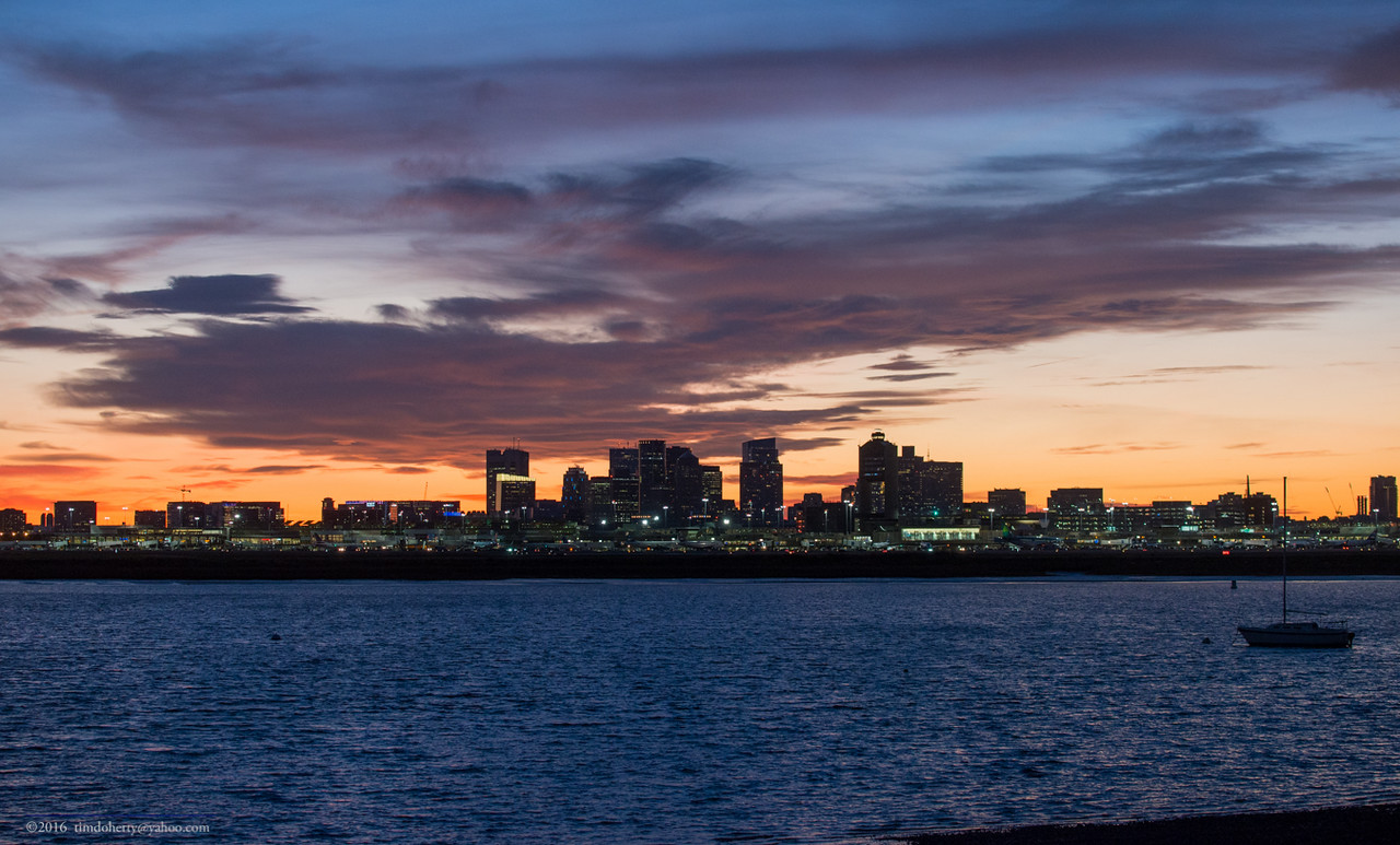 Boston after sunset on November 12, 2016.