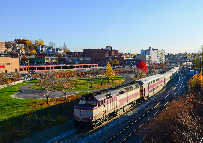 MBTA train 401 heads through CPF 330 on the way to Watchusetts.