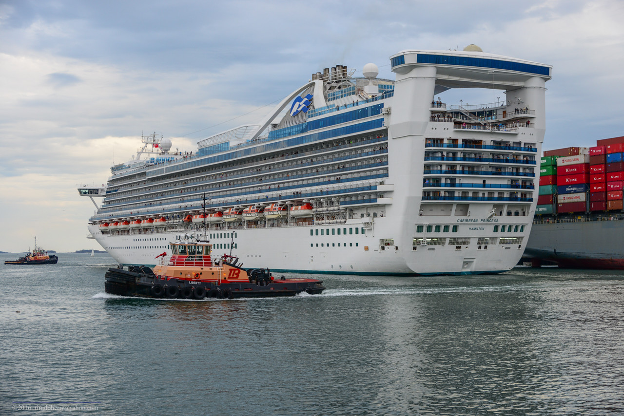 The tug Liberty with the Caribbean Princess.