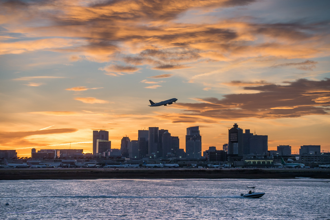 Late afternoon Jet Blue departure from Logan Airport.