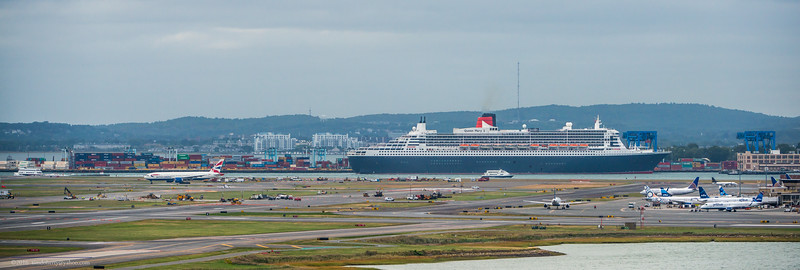 The Queen Mary 2 arrives in Boston as British Airways flight 238 departs for London.