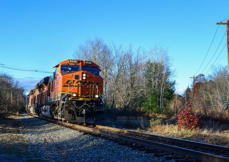 Loaded Pan Am grain train passes the site of the NYC/B&M Dimond at Baldwinsville.