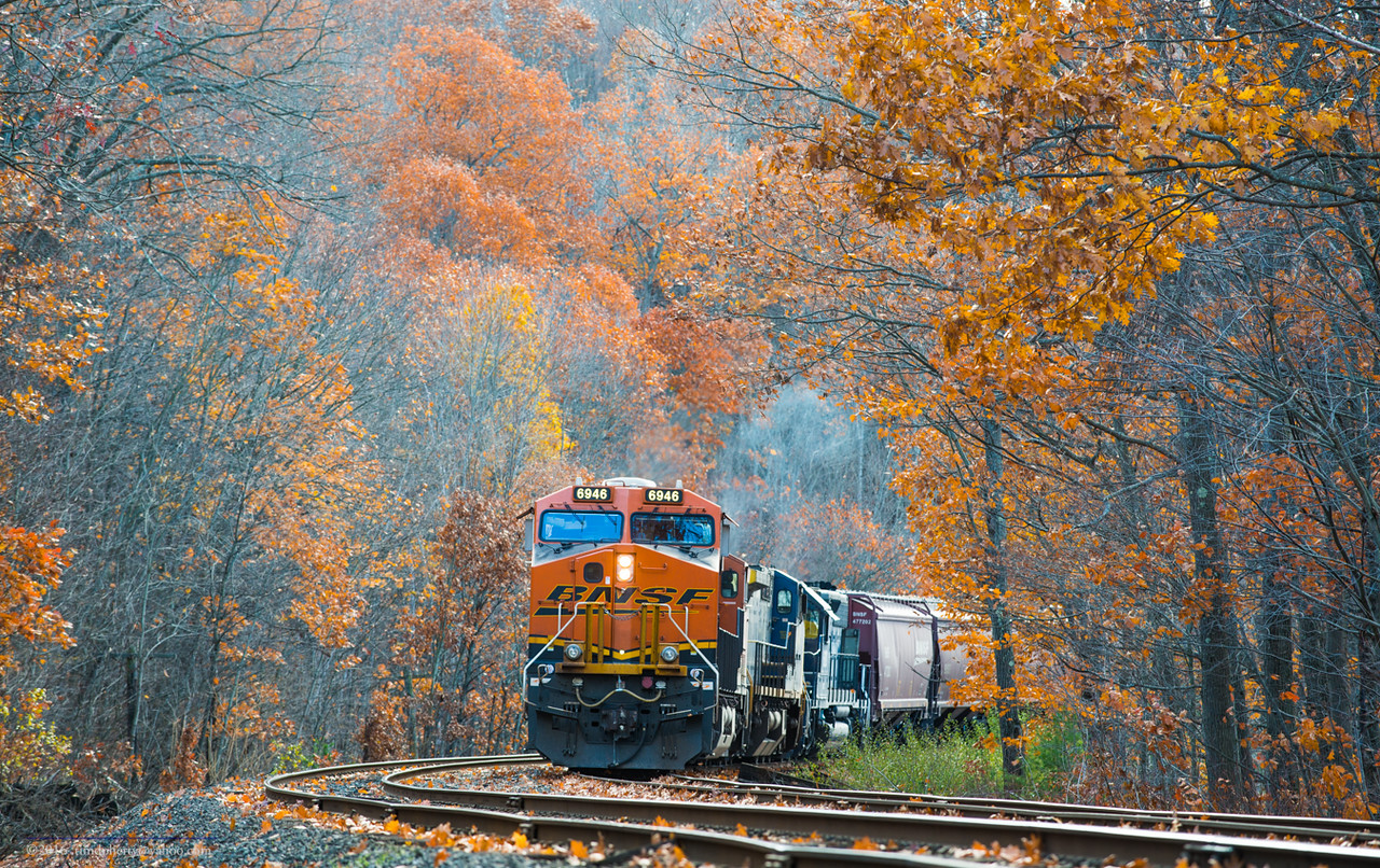 Amid the late Autumn leaves a loaded grain train waits for a push at Wendell.