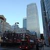 A Stagecoach London Scania Omnidekka leaves Canary Wharf on the 277 to Highbury & Islington.