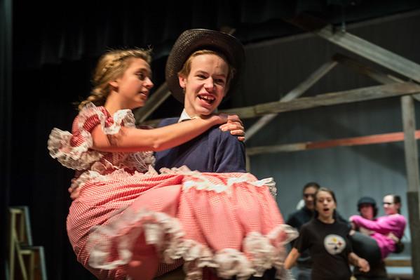JOED VIERA/STAFF PHOTOGRAPHER- Barker, NY-Josh Richbart holds Maya Gooding at the rehearsal of Barker High School's production of Oklahoma.