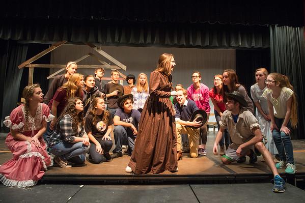 JOED VIERA/STAFF PHOTOGRAPHER- Barker, NY-The cast of Barker High School's production of Oklahoma rehearse.