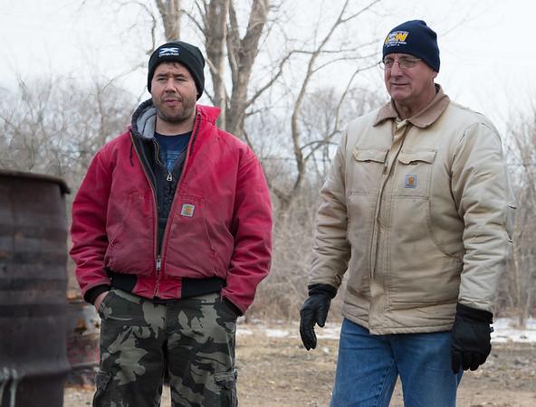 JOED VIERA/STAFF PHOTOGRAPHER- Lockport, NY-Jim Dickson and Mike Schaffert camp by the USW hut across the street form ATI.