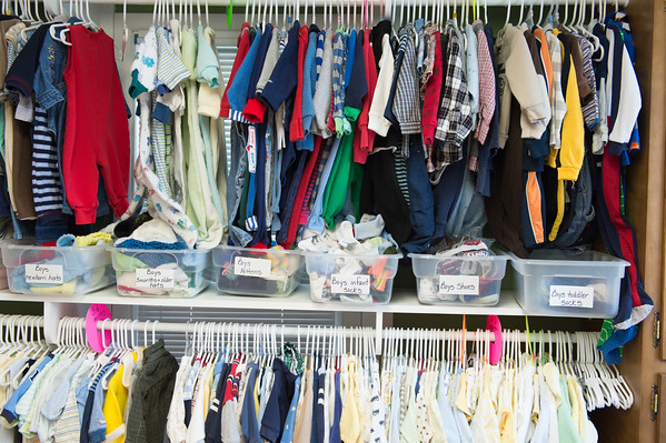JOED VIERA/STAFF PHOTOGRAPHER- Lockport, NY-Clothes line the racks at Care Net's blessings closet.