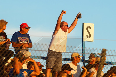 A race fan in the grandstands