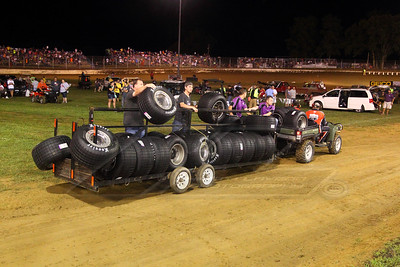 Hoosier tires being delivered to the infield from impounding