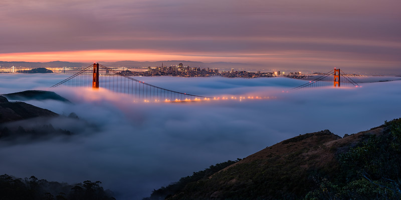 BIG photo prints are all the rage these days, so whenever I can I throw on my telephoto lens and try to take a multi-photo panorama. Here we have a 140 megapixel rendering of low fog at the Golden Gate Bridge