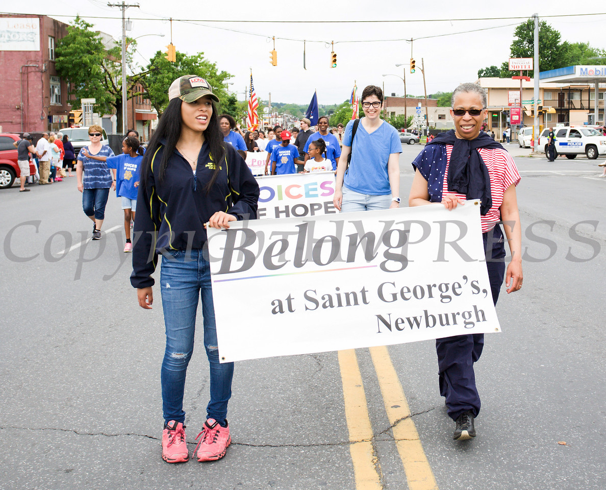 Members of St. George's Episcopal Church marched in the City of Newburgh hosted Memorial Day Parade on Monday, May 30, 2016, which proceeded along Broadway to Washington's Headquarters. Hudson Valley Press/CHUCK STEWART, JR.
