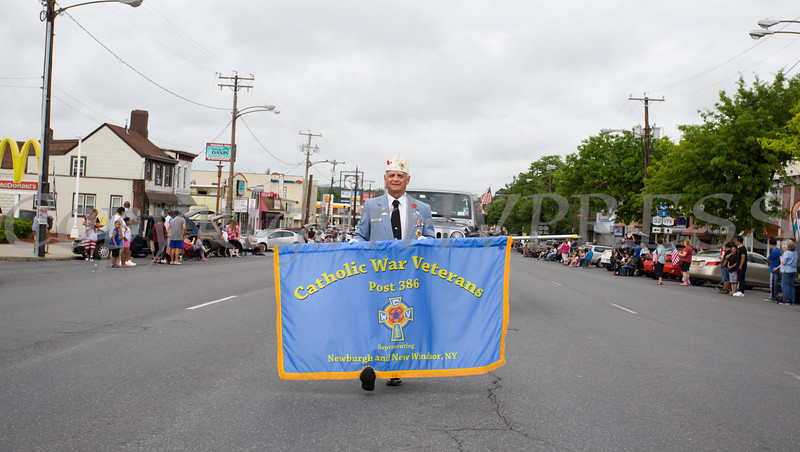 Members of the Catholic War Veterans Post 386 marched in the City of Newburgh hosted Memorial Day Parade on Monday, May 30, 2016, which proceeded along Broadway to Washington's Headquarters. Hudson Valley Press/CHUCK STEWART, JR.
