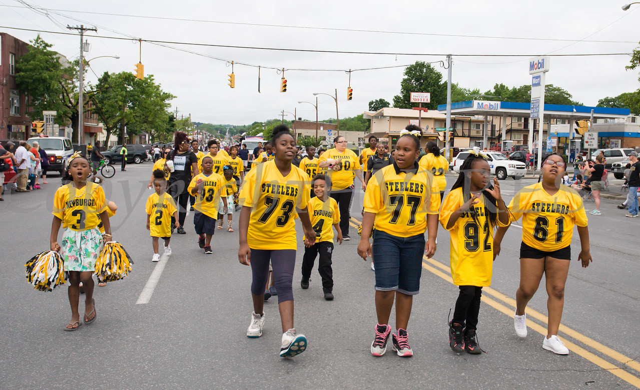 Members of the Newburgh Steelers Pop-Warner Football team participated in the City of Newburgh hosted Memorial Day Parade on Monday, May 30, 2016, which proceeded along Broadway to Washington's Headquarters. Hudson Valley Press/CHUCK STEWART, JR.