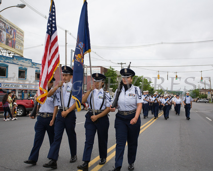 Members of the Newburgh Free Academy Air Force JROTC marched in the City of Newburgh hosted Memorial Day Parade on Monday, May 30, 2016, which proceeded along Broadway to Washington's Headquarters. Hudson Valley Press/CHUCK STEWART, JR.