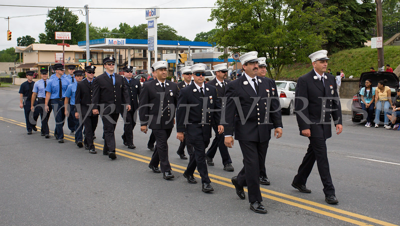 Members of the City of Newburgh Fire Department marched in the City of Newburgh hosted Memorial Day Parade on Monday, May 30, 2016, which proceeded along Broadway to Washington's Headquarters. Hudson Valley Press/CHUCK STEWART, JR.