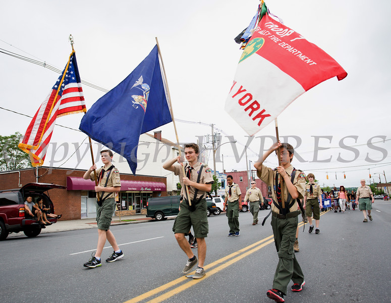 Local Boy Scouts marched in the City of Newburgh hosted Memorial Day Parade on Monday, May 30, 2016, which proceeded along Broadway to Washington's Headquarters. Hudson Valley Press/CHUCK STEWART, JR.
