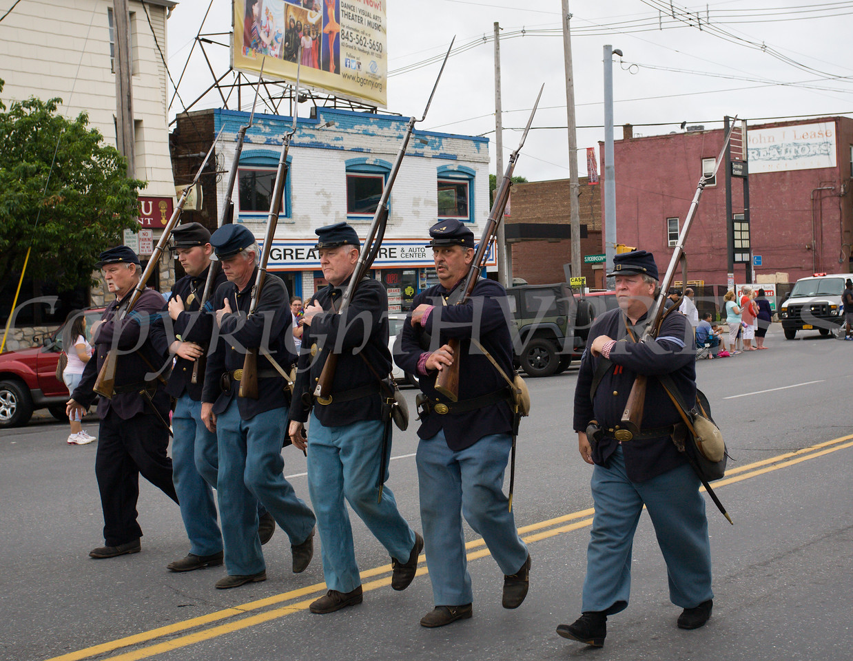 The 124th New York State Volunteer Civil War era reenactment unit participated in the City of Newburgh hosted Memorial Day Parade on Monday, May 30, 2016, which proceeded along Broadway to Washington's Headquarters. Hudson Valley Press/CHUCK STEWART, JR.