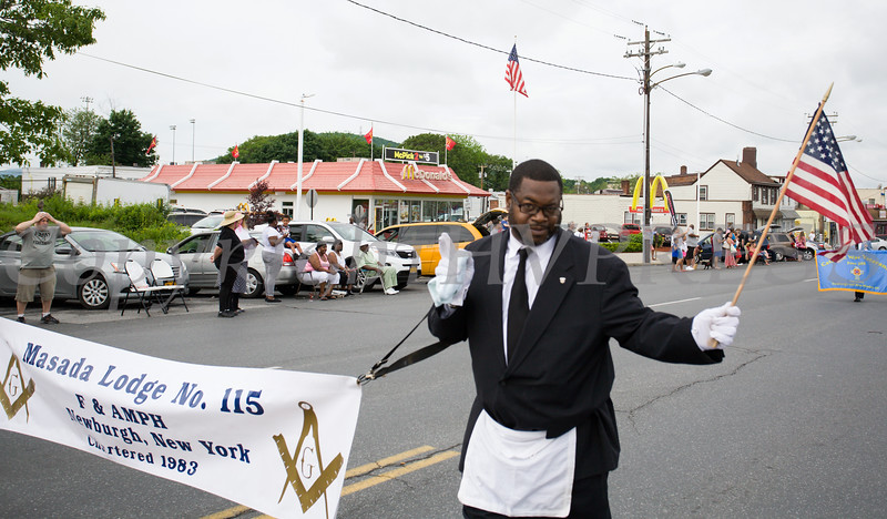 Members of Masada Lodge No. 115 F&AMPH marched in the City of Newburgh hosted Memorial Day Parade on Monday, May 30, 2016, which proceeded along Broadway to Washington's Headquarters. Hudson Valley Press/CHUCK STEWART, JR.