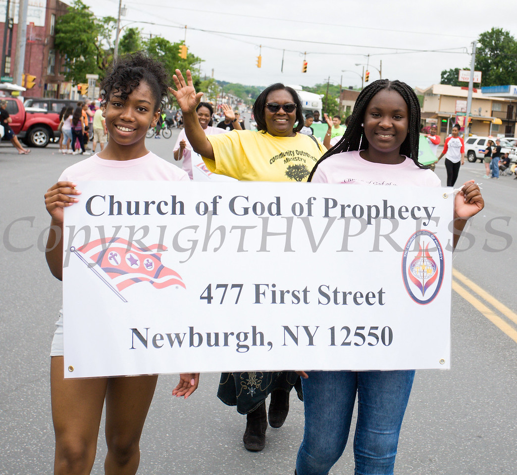 Members of the Church of God of Prophecy marched in the City of Newburgh hosted Memorial Day Parade on Monday, May 30, 2016, which proceeded along Broadway to Washington's Headquarters. Hudson Valley Press/CHUCK STEWART, JR.