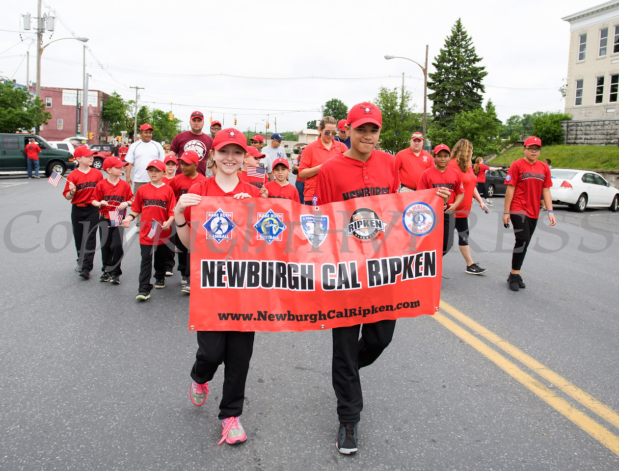 Members of Newburgh Cal Ripken marched in the City of Newburgh hosted Memorial Day Parade on Monday, May 30, 2016, which proceeded along Broadway to Washington's Headquarters. Hudson Valley Press/CHUCK STEWART, JR.