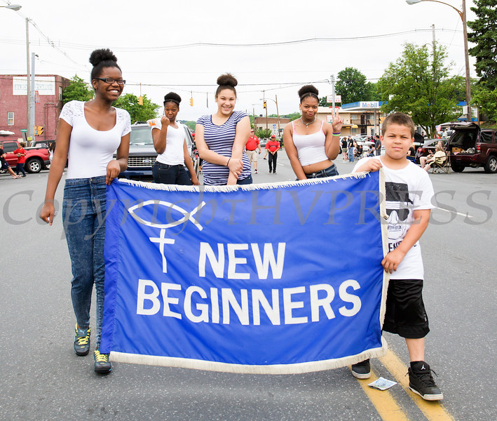 Members of New Biginners Church marched in the City of Newburgh hosted Memorial Day Parade on Monday, May 30, 2016, which proceeded along Broadway to Washington's Headquarters. Hudson Valley Press/CHUCK STEWART, JR.