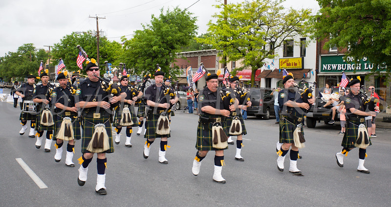 Members of the Hudson Valley Regional Police Pipes & Drums participated in the City of Newburgh hosted Memorial Day Parade on Monday, May 30, 2016, which proceeded along Broadway to Washington's Headquarters. Hudson Valley Press/CHUCK STEWART, JR.