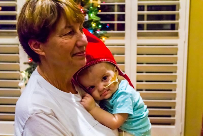 Nanny latches onto the Christmas gnome