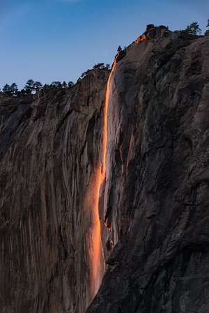 And Fire Falls is finally hitting its peak! It had come in strong, completely died, and is now back, turning the waterfall even more red/orange then before!