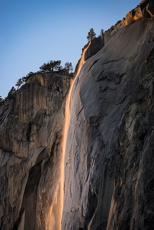 A close up of the top of Horsetail Falls, taken at 600mm.