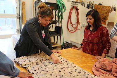 Luisa Fernanda Garcia-Gomez (MFA, Design Studies) discusses her final project (seen here) with Meeta.