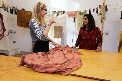 Molly Mapstone (Art History, French) discusses her final project (seen here) with Meeta.