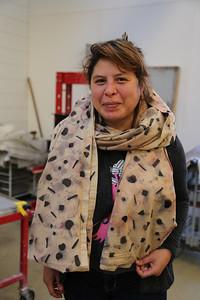 Luisa Fernanda Garcia-Gomez (MFA, Design Studies) shows off her final piece draped around her.