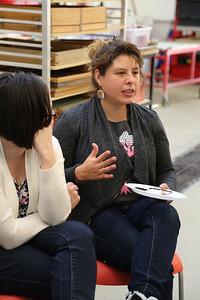 Luisa Fernanda Garcia-Gomez (MFA, Design Studies) engaging with the class, as Maria Wood (MFA, Design Studies) looks on.
