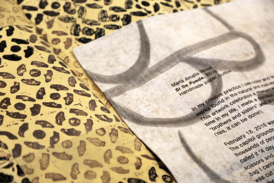 Detail look at Maria Wood (MFA, Design Studies) final piece and handmade fabric title card.