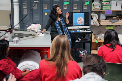 """Sarah K Khan speaking to students in """"Tactile Textiles – From 2D to 3D"""""""