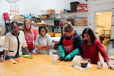 Left to Right: YAYA Giovanni Houston (Textiles and Fashion Design), Lucy Hodkiewicz (Art), Penny Xiong (Art History), Luisa Fernanda Garcia-Gomez  (MFA, Design Studies), and Meeta Mastani working with 'syahi'.