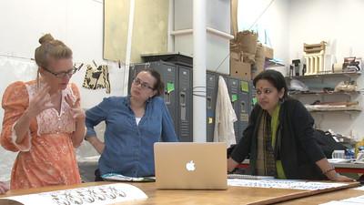 Emily Popp (MFA, Design Studies) discussing her design with Maria Wood (MFA, Design Studies)  and Meghana Jain Singh.