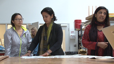 Meghana Jain Singh visited Meeta's class  to facilitate the process of developing a concept into a print with students.