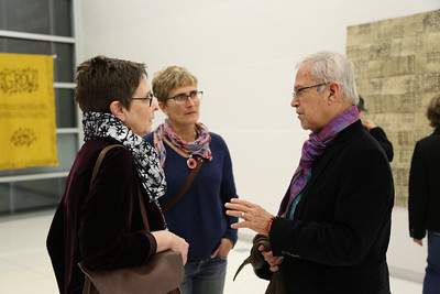 Mary Hark, Associate Professor of Design Studies (right), Brenda Baker, Madison Children's Museum (middle), and Henry Drewal, lead faculty and Evjue-Bascom Professor of Art History (left)