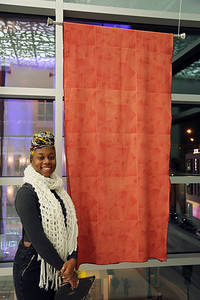 YAYA Giovanni Houston (Textiles and Fashion Design) poses with her piece.