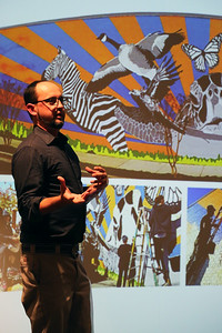 Peter creates collaborative and community public art, such as sculptures and murals, pictured here.