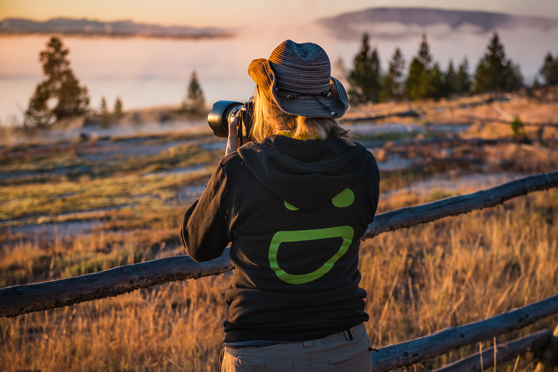 A few of us left Jackson Hole SUPER early and drove to Yellowstone, hoping to make it in time for sunrise and the best chances of seeing wildlife. We caught an interesting foggy sunrise, then saw a Lotttttttt of Bison
