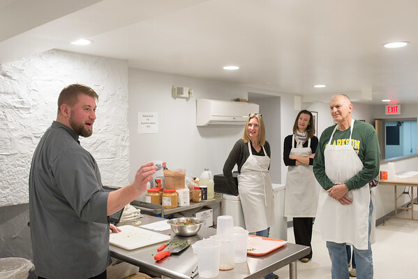 JOED VIERA/STAFF PHOTOGRAPHER Lockport, NY-Chef Peter Flanagan teaches a class at the newly remodeled YWCA kitchen.