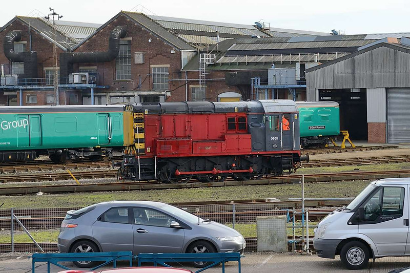 13 January 2016 :: Shunting inside Eastleigh Arlington works is 08611