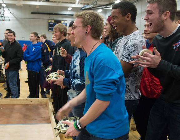 JOED VIERA/STAFF PHOTOGRAPHER Sanborn, NY-Tonawanda High School students compete in the Tech Wars finals at Niagara County Community College.